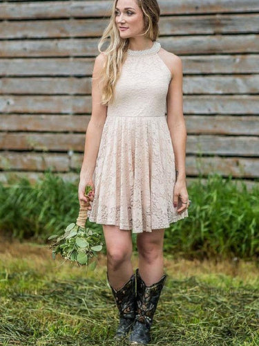 791fb11c1bf Dusty Country Rustic Lace Halter Short Bridesmaid Dresses with Cowboy Boots