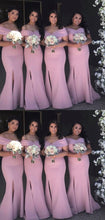 Dusty Pink Mermaid Side Slit Simple Off Shoulders Bridesmaid Dresses,GDC1077
