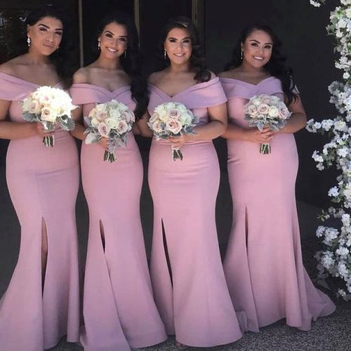 Dusty Pink Mermaid Side Slit Simple Off Shoulders Bridesmaid Dresses,GDC1077-Dolly Gown