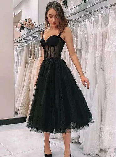 Elegant Black Polka Dot See Through Tulle Short Wedding Dress,20101602