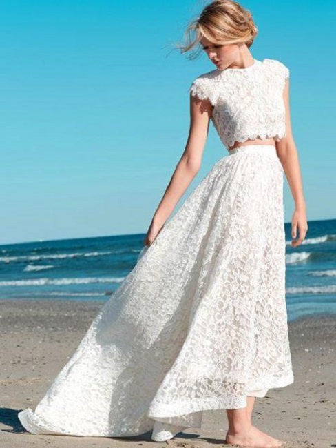 Elegant Cap Sleeves Two Piece Crop Top Lace Boho Hi-Lo Wedding Dress,20081401-Dolly Gown