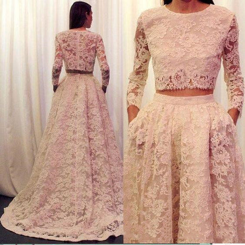 Elegant Lace Long Sleeves Modest Two Piece Bridal Separates with Pockets.20082680-Dolly Gown