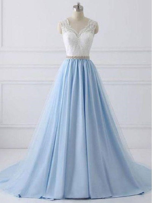Elegant Long Blue Prom Dress with White Lace Top,Senior School Formal Dress,GDC1326