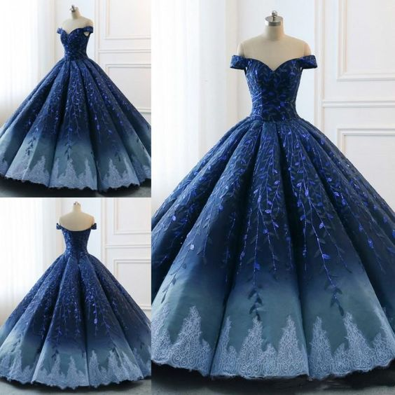 Embre Blue Off Shoulder Ball Gown Occasion Prom Dress Quinceanera Dresses,GDC1244-Dolly Gown