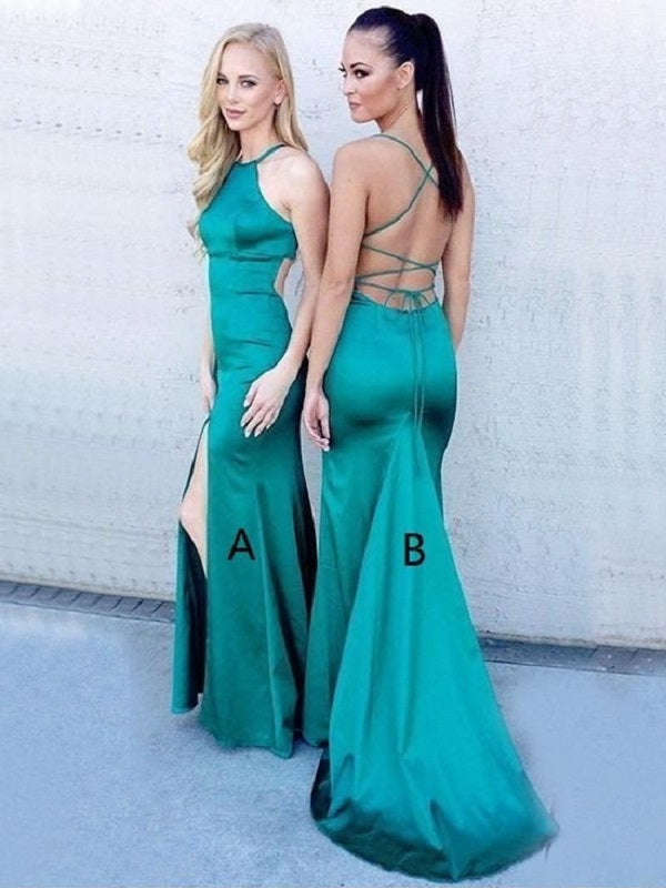 Emerald Green Prom Dress, Backless Prom Dress,Skin Tight Prom Dress with Slits and Open Back,MA018-Dolly Gown
