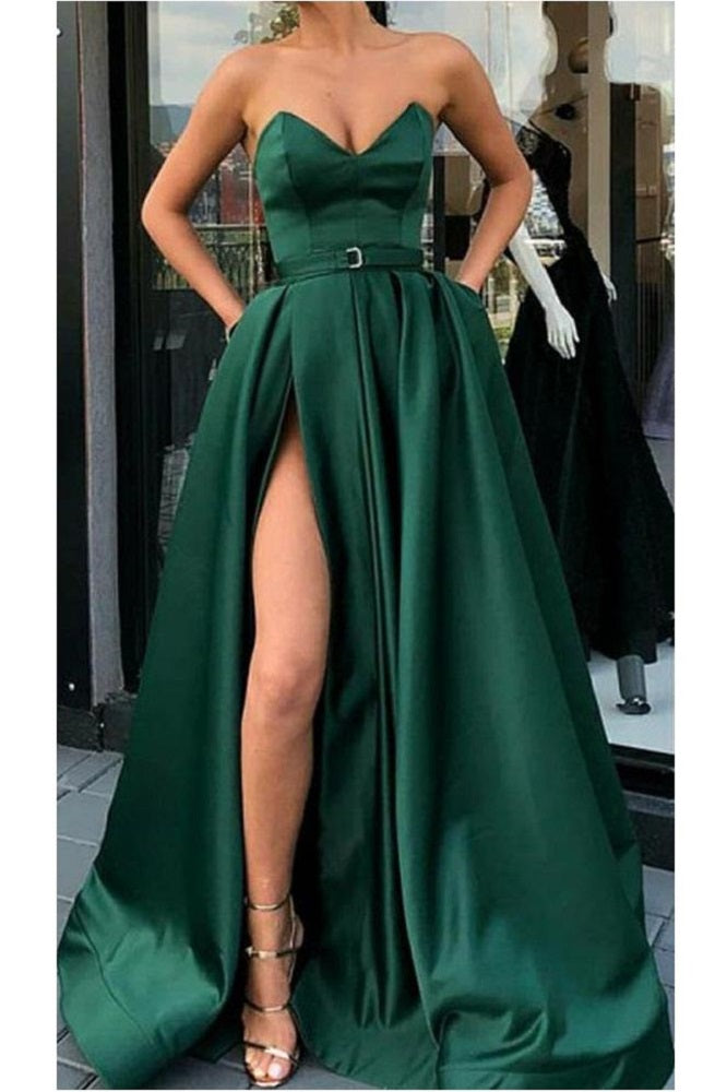 Emerald Green Side Slit Strapless Long Prom Dress with Belt,GDC1248