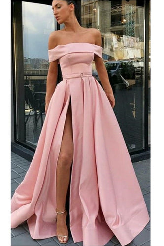 Excellent Pink Off Shoulders Long Prom Dress with Side Slit Belt ,GDC1246