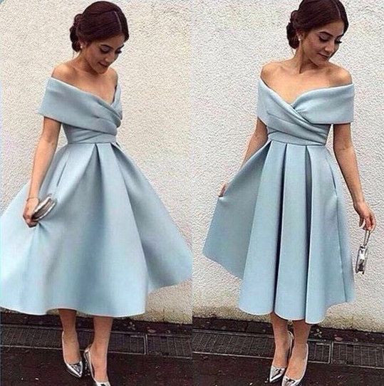 Short Prom dress,Off shoulder Prom Dress,Blue Prom Gown,Graduation Dress,FS001