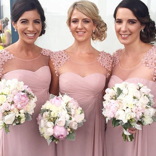 Blush Bridesmaid Dresses,Long Bridesmaid Dresses,Pink Bridesmaid Dresses,Chiffon Bridesmaid Dresses,FS002