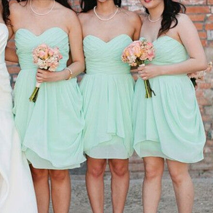 Mint Bridesmaid Dresses,Short Bridesmaid Dresses,Knee-Length Bridesmaid Dresses,Summer Bridesmaid Dresses,Fs005