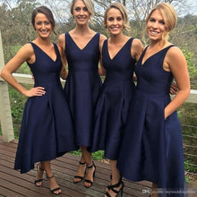 Navy Bridesmaid Dresses With Pockets High Low Simple Bridesmaid Dress Fs009-Dolly Gown