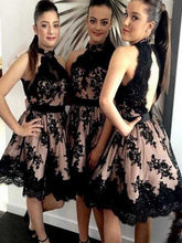 Halter Black Lace Short Bridesmaid Dresses With Open Back,Robe De Demoiselle D'Honneur,Fs012