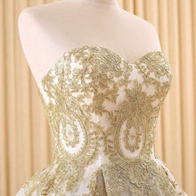 Classy Strapless Lace Gold Wedding Dress Ball Gown Wedding Dress Fs020-Dolly Gown