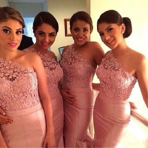 Pink One Shoulder Lace Top Mermaid Bridesmaid Dresses,FS033