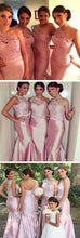 Blush Bridesmaid Dresses,One Shoulder Bridesmaid Dresses,Pink Bridesmaid Dresses,Lace Top Bridesmaid Dresses,Fs033-Dolly Gown