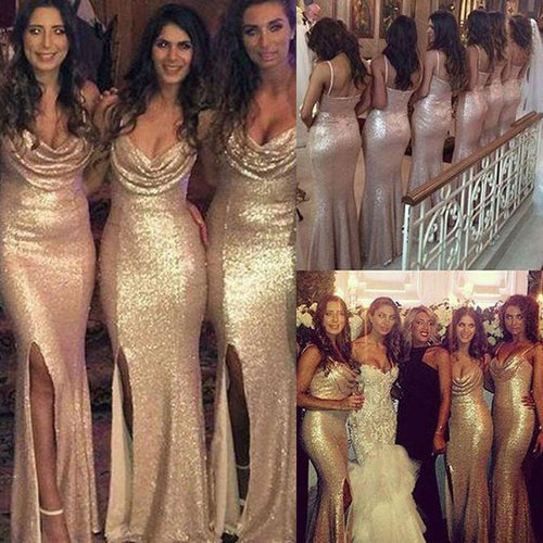 Sexy Sequin Gold Bridesmaid Dresses with Side Slit Bridesmaid Dresses with Split Front,Fs036-Dolly Gown