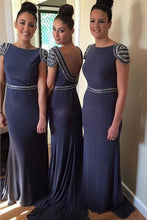 Bridesmaid Dresses Long,Cap Sleeve Bridesmaid Dresses,Bridesmaid Dresses Navy Blue,Unique Bridesmaid Dresses,FS063