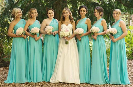 Tiffany Blue Bridesmaid Dresses,Long Bridesmaid Dresses,Bridesmaid Dresses Long,One Shoulder Bridesmaid Dresses,FS076
