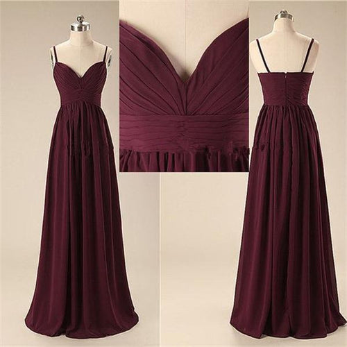 Chiffon Burgundy Bridesmaid Dresses Long Cheap under 100,FS080
