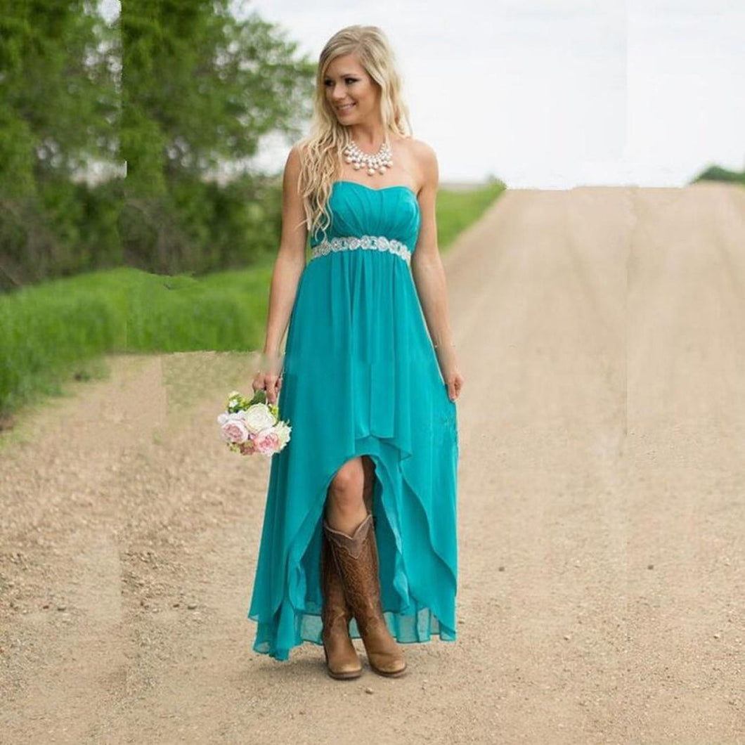 Bridesmaid Dresses with Boots,Tiffany Blue Bridesmaid Dresses,High Low Bridesmaid Dresses,Strapless Bridesmaid Dresses,FS082
