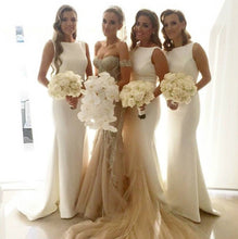 White Bridesmaid Dresses,Long Bridesmaid Dresses,Bridesmaid Dresses with Train,Simple Bridesmaid Dresses,FS083