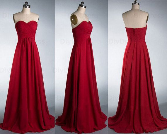 Red Bridesmaid Dresses,Long Bridesmaid Dresses,A-line Bridesmaid Dresses,Chiffon Bridesmaid Dresses,FS089