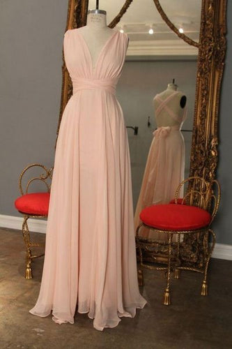 Bridesmaid Dresses Blush Pink,Cross Back Bridesmaid Dresses,Long Bridesmaid Dresses,Chiffon Bridesmaid Dresses,FS092