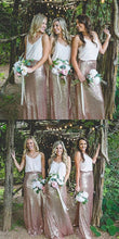Bohemian Bridesmaid Dresses,2 Pieces Bridesmaid Dresses,Boho Bridesmaid Dresses,Sequins Skirt Bridesmaid Dresses,FS098