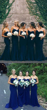 Cheap Rustic Navy Blue Long Mermaid Bridesmaid Dresses, FS099