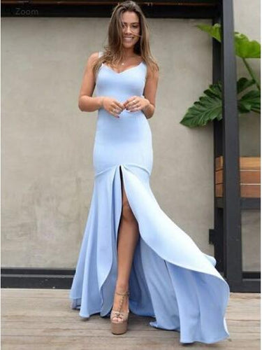 Fabulous Light Blue Open Bottom Low Back Prom Dress for Party ,GDC1130