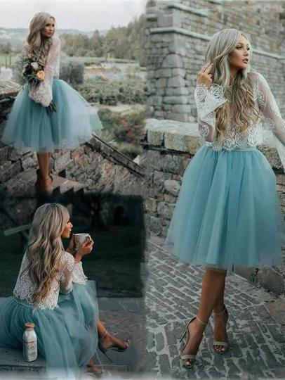 Fairy Tulle Skirt Lace Top Wedding Reception Dress,Short Homecoming Dress,GDC1063