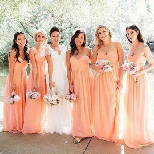 Fall Blush Pink Strapless Chiffon Bridesmaid Dresses Long,GDC1311-Dolly Gown