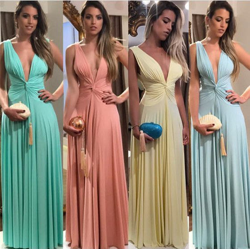 Fall Different Color Long Sexy V neck Bridesmaid Dresses,GDC1081
