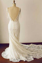 Vintage Lace See Though V neck Sheath Wedding Dress,Lace Bridal Gown,GDC1268
