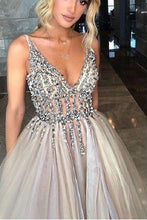 Fashion Feminine Grey See Through Plunge V neck Tulle Prom Dress ,GDC1207