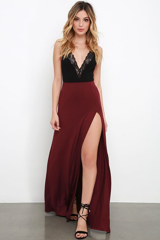 5cbdefd54d827 Floor Length Burgundy Prom Dress Semi-formal Dress with Black Lace  Top,GDC1343