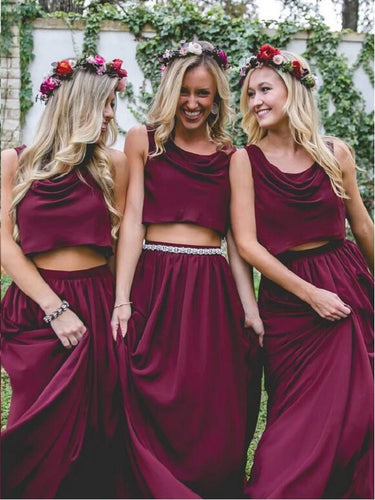 Flowy Boho Burgundy Two Piece Chiffon Bridesmaid Dresses,20081822-Dolly Gown