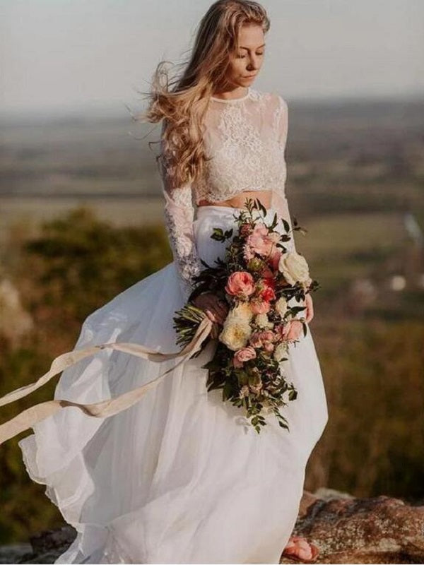 Flowy Summer Casual Two Piece Long Sleeved Lace TOP Wedding Dress with Chiffon Skirt,20082213-Dolly Gown