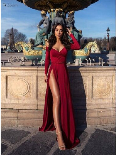Glamour Red Long Sleeves Side Slit Prom Dress,Special Occasion Dress,GDC1125-Dolly Gown