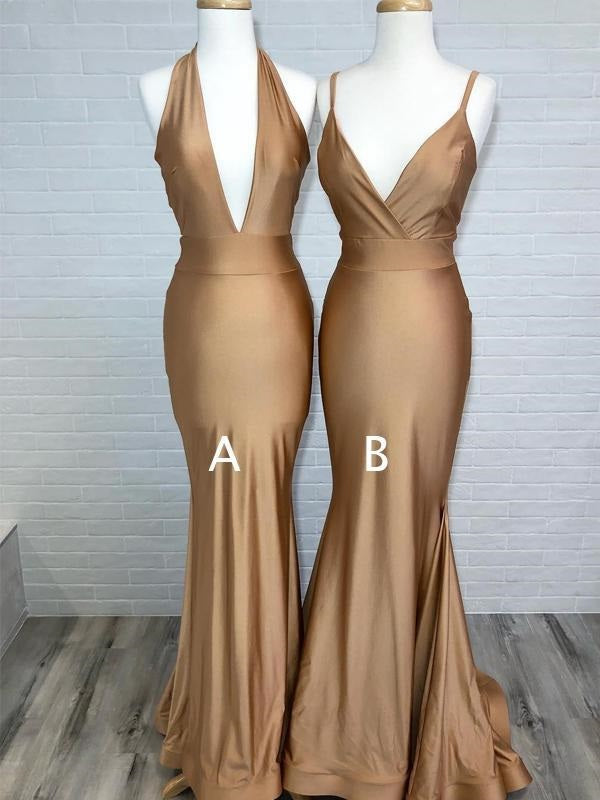 Gold Bridesmaid Dresses, Gold Prom Dress, Bodycon Tight Prom Dress,GDC1207-Dolly Gown