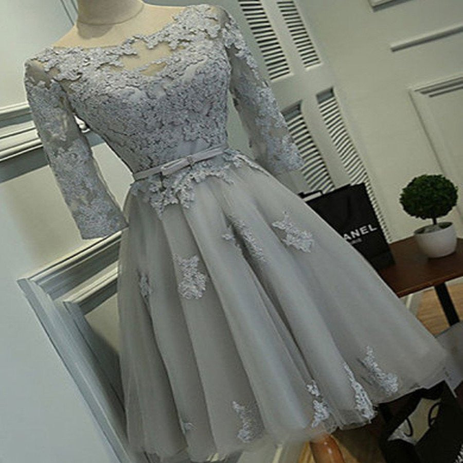 Grey Prom Dress,Short Homecoming Dress,Long Sleeve Prom Dress,Vintage Prom Dress,SSD003