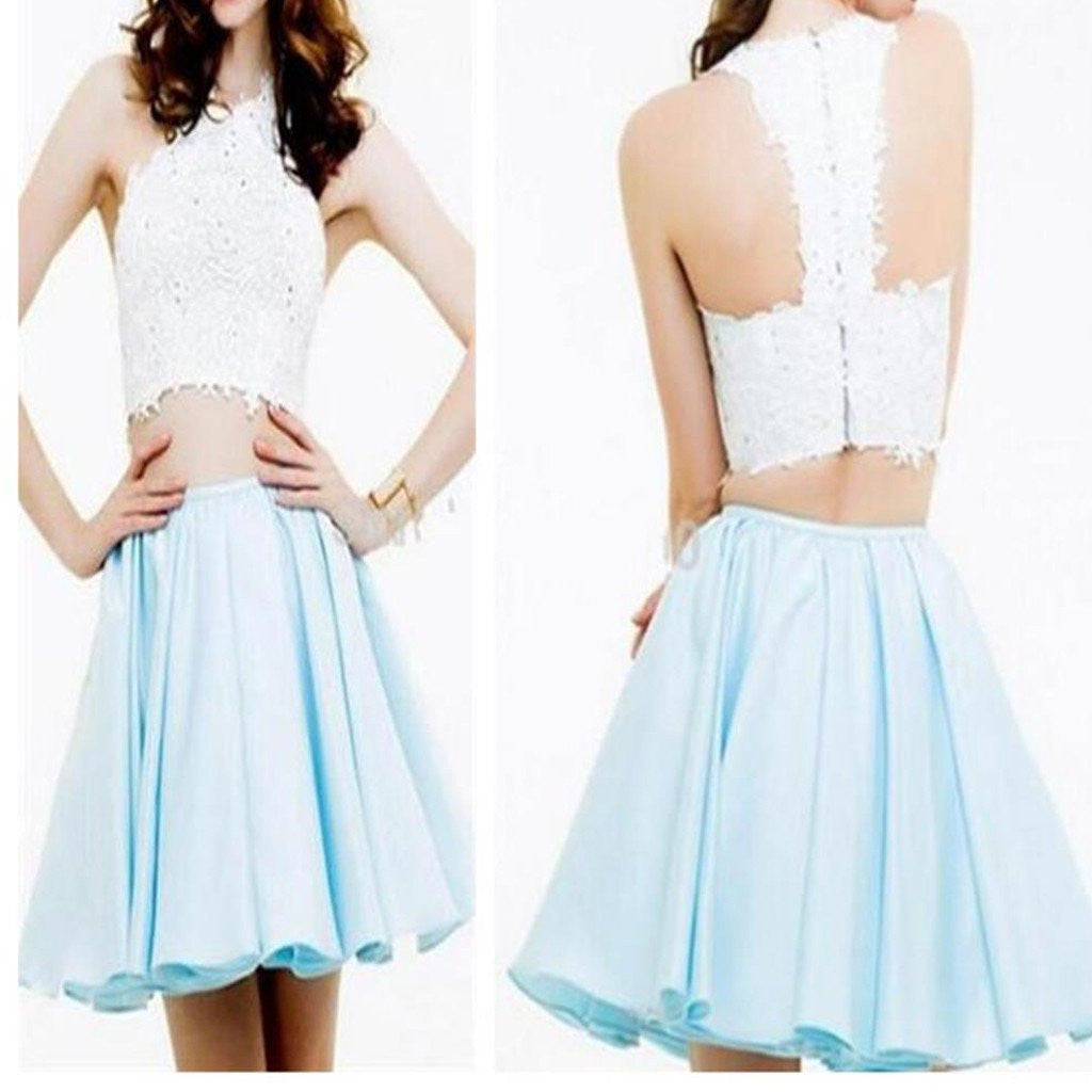 Blue Two Piece Homecoming Dress Sweet 16 Dress Short Homecoming Dress,Short Formal Dresses,SSD004-Dolly Gown