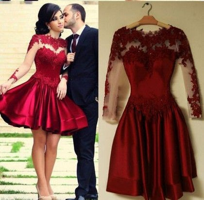 Red Homecoming Dress,Long Sleeve Homecoming Dress, Short Prom Dress,Red Formal Dress,SSD005