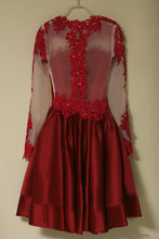 Long Sleeve Red Homecoming Dress with Sleeves Short Prom Dress Red Formal Dress,SSD005-Dolly Gown