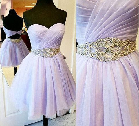 Lavender Prom Dress Lavender Homecoming Dress Short 8th Grade Formal Dresses SSD009-Dolly Gown