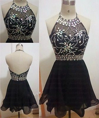 Black Homecoming Dress,Short Homecoming Dress,Halter Homecoming Dress,Homecoming Dress for Teens,SSD014
