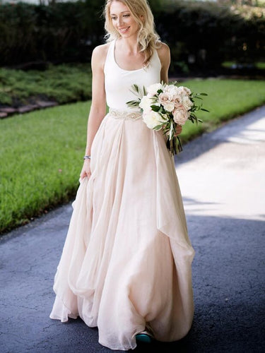 Halter Boho Rustic Modern Two Piece Wedding Dress,Affordable Unique Bridal Separates,20082554-Dolly Gown