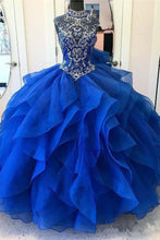 Halter Ruffles Sparkly Beading Ball Gown Quinceanera Dresses,Prom Dress,GDC1239