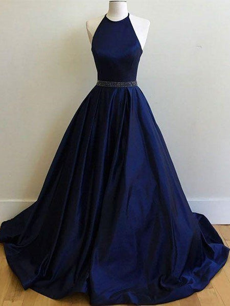 Halter Satin Navy Blue Ball Gown Prom Dress with beading waist,GDC1199
