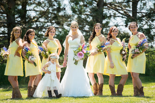 Halter Yellow Mini Short Length Satin  Rustic Country Bridesmaid Dresses with Cowboy Boots,GDC1507